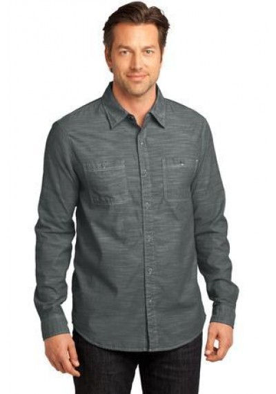 District Made® - Mens Long Sleeve Washed Woven Shirt.
