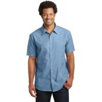 District Made® Mens Short Sleeve Washed Woven Shirt.