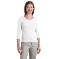 Port Authority® Ladies Modern Stretch Cotton 3/4-Sleeve Scoop Neck Shirt