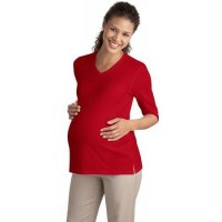 Port Authority® Ladies Silk Touch™ Maternity 3/4-Sleeve V-Neck Shirt.