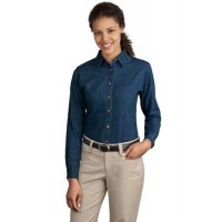 Port & Company® - Ladies Long Sleeve Value Denim Shirt.
