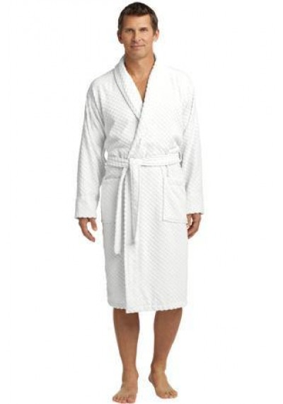 Port Authority® Checkered Terry Shawl Collar Robe.
