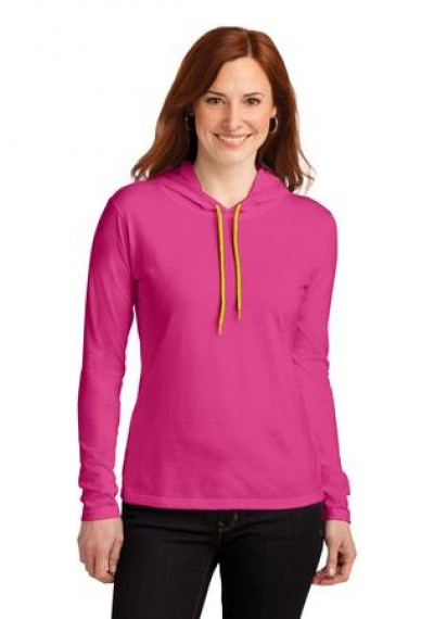 Anvil® Ladies 100% Ring Spun Cotton Long Sleeve Hooded T-Shirt
