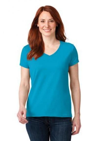 Anvil® Ladies 100% Ring Spun Cotton V-Neck T-Shirt.