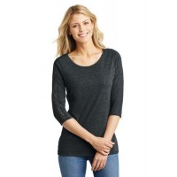 District Made® Ladies Tri-Blend Lace 3/4-Sleeve Tee