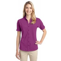 Port Authority® Ladies Stretch Pique Button-Front Shirt