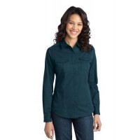 Port Authority® Ladies Stain-Resistant Roll Sleeve Twill Shirt.