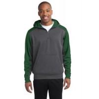 Sport-Tek® Tech Fleece Colorblock 1/4-Zip Hooded Sweatshirt.