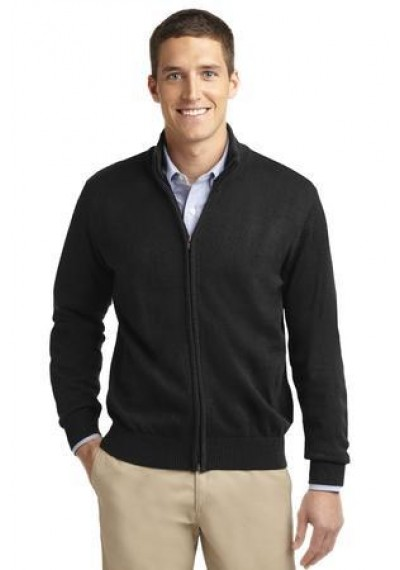 Port Authority® Value Full-Zip Mock Neck Sweater.